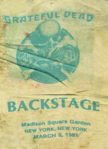 1981 03 09 Backstage Pass Jerry Garcia