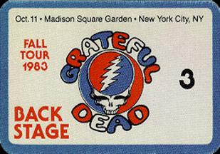 Grateful Dead 1983 10 11 Madison Square Garden New York Ny Usa Jerry Garcia