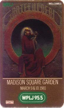 Grateful Dead 1981 03 10 Madison Square Garden New York Ny Usa Jerry Garcia