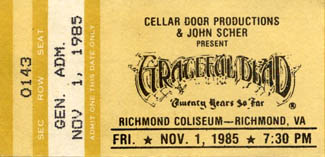 Image result for Richmond Coliseum, Richmond VA on 11/01 /1985 grateful dead