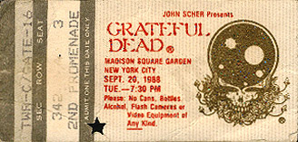 Grateful Dead 1988 09 20 Madison Square Garden New York Ny Usa Jerry Garcia
