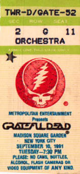 Grateful Dead 1991 09 10 Madison Square Garden New York Ny Usa Jerry Garcia