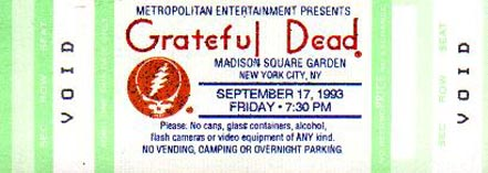 Grateful Dead 1993 09 17 Madison Square Garden New York Ny Usa Jerry Garcia